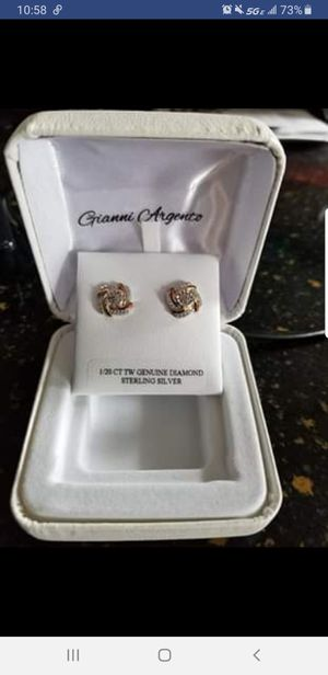 1/20 ct tw genuine diamond sterling silver & gold earrings for Sale in NEW CUMBERLND, PA