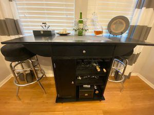 Bar cart, stone inlay top with rolling wheels! for Sale in Carlsbad, CA
