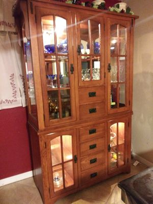Mission style lighted China cabinet w/ hutch for Sale in Denver, CO