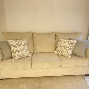 beige couch with pillows for Sale in Nashville, TN