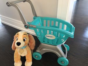 WALMART CART AND PLUSHY DOG for Sale in Lincolnwood, IL