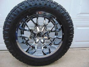 20X10 Chrome Dropstar Rims Nitto Exo Grappler 10PLY Tires*8X6.5*-19MM* for Sale in Aurora, CO