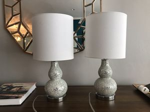 Two matching table lamps - light blue and chrome for Sale in Beverly Hills, CA