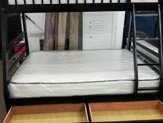 No Credit Needed Espresso Twin Full Bunk Bed With Mattress And Storage for Sale in College Park,  MD