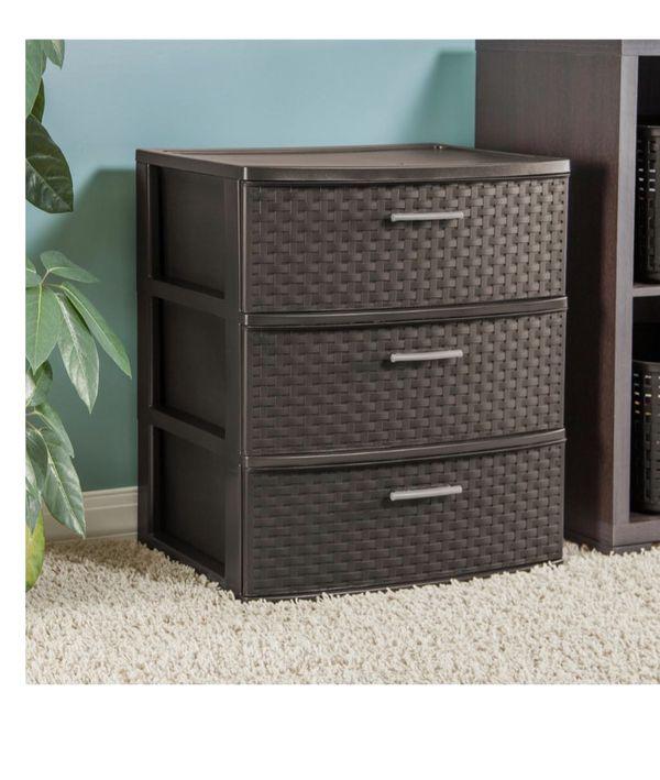 3 drawer plastic woven storage