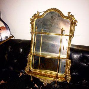2x3 gold antique French wall mirror with shelves for Sale in Goodyear, AZ