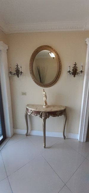 Antique Console marble top table w/mirror for Sale in Miami, FL