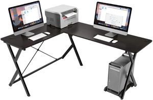 L-Shaped Home Office Workstation Wood & Metal in Black Furniture for Sale in Los Angeles, CA