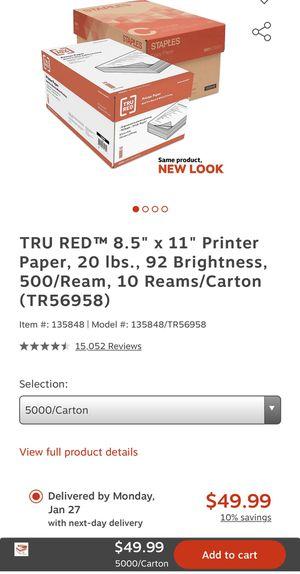 Staples Printer Copy Paper 10 reams/carton for Sale in Fontana, CA