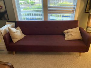 Mcm style maroon futon for Sale in Mercer Island, WA