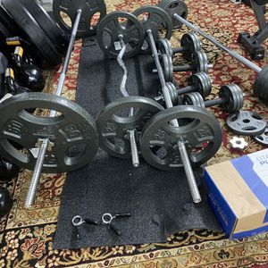 Standard One Inch Home Gym Sets Bench Barbell Curl Bars Handles Cast Iron Plates Tree for Sale in Houston, TX