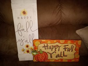 Happy fall y'all signs. $30 for both. Tags attached for Sale in Columbia, VA