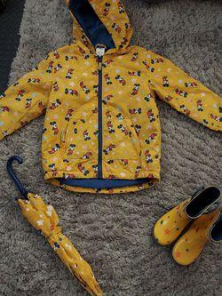 3 Pc Mickey Rain Coat, Boots, And Umbrella for Sale in Corona,  CA
