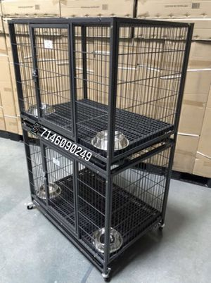 """Double stackable dog pet cage kennel size 37"""" mmedium with plastic floor tray plastic floor grid for Sale in Chino, CA"""