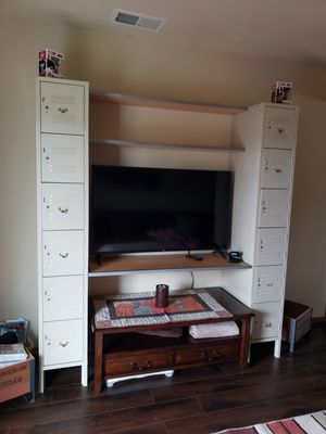 Desk with storage lockers and shelves or TV stand for Sale in Marysville, WA