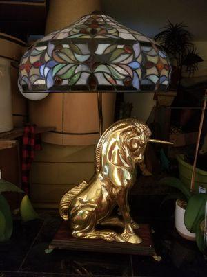 Vintage Large Heavy Brass Unicorn Lamp for Sale in Riviera Beach, FL