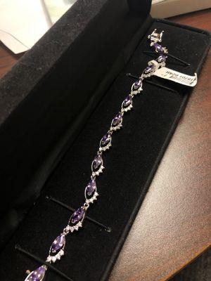 Elegant cut purple ruby cz diamond bracelet for Sale in Rowlett, TX