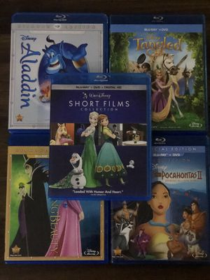 Aladdin, Tangled, Pocahontas 1&2, Sleeping Beauty , Short Films Collection for Sale in Riverview, FL