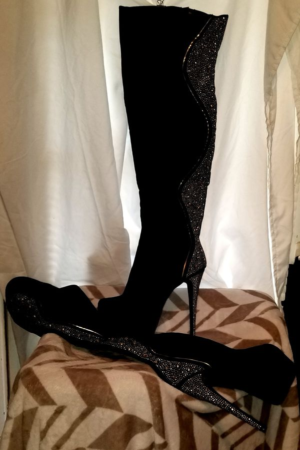 Black and Silver Rhinestone Stiletto Thigh High Boots