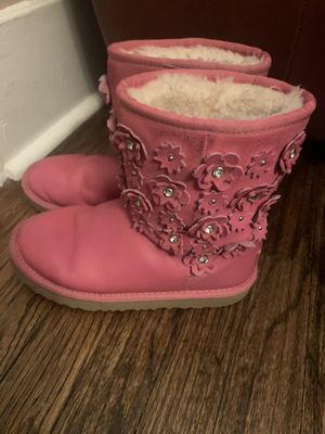 Ugg Hot pink leather boots with crystal details for Sale in Pittsburgh, PA