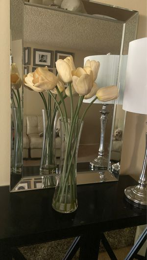 Home Decor. Artificial tulips flower glass vase for Sale in Whittier, CA