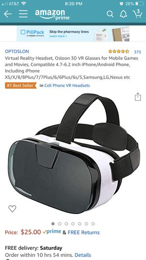 Virtual Reality Headset, Osloon 3D VR Glasses for Mobile Games and Movies, Compatible 4.7-6.2 inch iPhone/Android Phone, Including iPhone XS/X/8/8Plu for Sale in Everett, WA