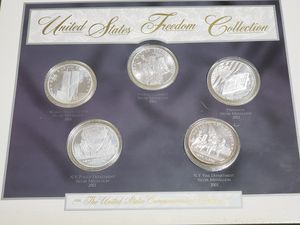 United States Freedom Silver Collection in Custom Wood Display Includes five, 5 oz of silver coins for Sale in Berlin, NJ