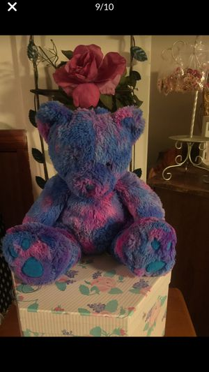 Stuffed fluffy teddy bear blue & pink clean nice cute gift for Sale in Northfield, OH
