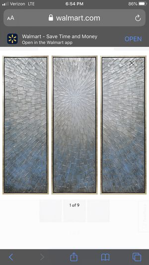 "Empire Art Direct Silver Ice Textured Metallic Hand Painted Triptych Wall Art, 60"" x 20"" x 1.5"", Ready to Hang for Sale in Rochester, NY"