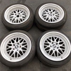 <17x8.5 / 17x9.5 +20 5x114.3> Staggered ESR Mesh Wheels - 5 Lug/5x4.5 - 350z G35 S2k G37 370z 240sx S13 S14 Speed3 Mazda Rx7 Rx8 Mustang Lexus Is300 for Sale in CA, US