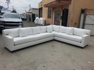 NEW 12X9 FT WHITE LEATHER SECTIONAL COUCHES for Sale in Las Vegas, NV