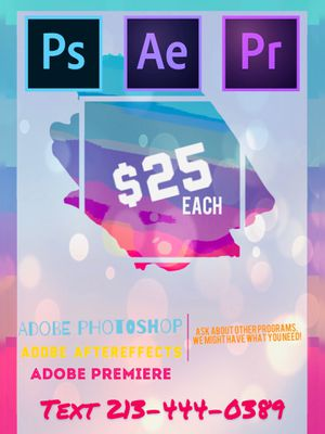 Adobe Photoshop Adobe Aftereffects Adobe Premiere for Sale in Los Angeles, CA