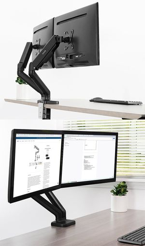 "Brand New $35 VIVO (V002O) Fully Adjustable Dual Monitor Stand, Desk Mount, Screens up to 27"" for Sale in Montebello, CA"