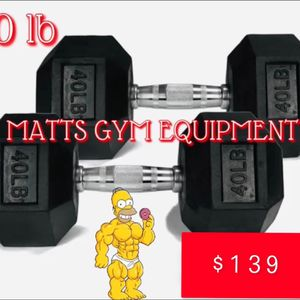 40 Lb Hex Rubberized Dumbbell Pair for Sale in Fort Lauderdale, FL