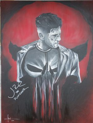 Autographed by Jon Bernthal punisher painting for Sale in Austin, TX