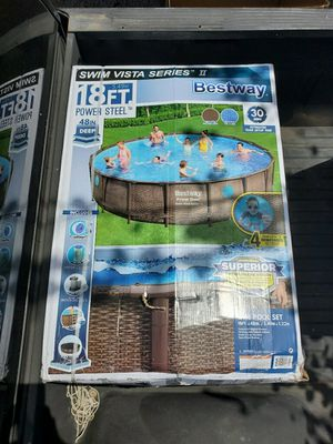 Bestway Power Steel Swim Vista Series 18 ft x 48 in Round Above Ground Pool Set for Sale in Austin, TX