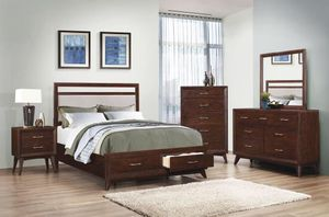Beautiful new 4 piece Cal King bed set only 680$!!! (1 bed, 1 nightstand, 1 mirror, 1 dresser) for Sale in San Leandro, CA