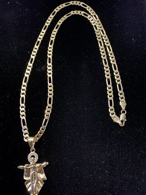 Figaro style GOLD PLATED 5mm necklace 24inches in length with Jesus Charm for Sale in Orlando, FL