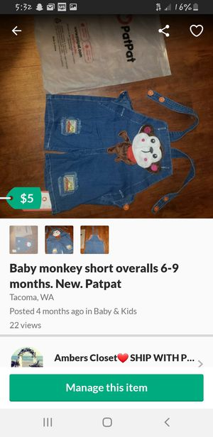 Monkey overalls. 6-9months. New for Sale in Tacoma, WA
