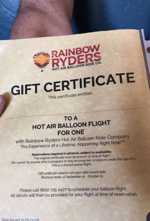 2 Rainbow Ryders Hot air ballon certificates for Sale in Apache Junction, AZ
