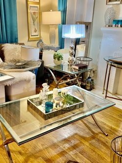 Chrome Coffee Table With Very Thick Glass 175.00 for Sale in Glendale,  CA