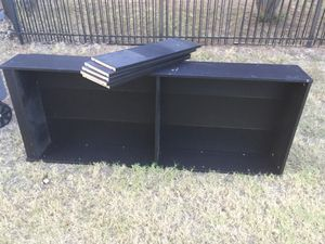 Free bookcase, rack and plastic creates for Sale in Keller, TX