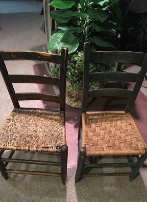 2 Antique Hand-woven Ladderback Chairs for Sale in Columbus, OH