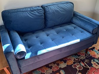 Blue Velvet Midcentury Couch for Sale in Richmond,  CA