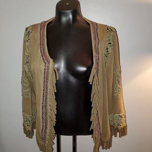 Gimmicks by Bke xl green open beaded fringe boho jacket /cardigan for Sale in Kernersville, NC