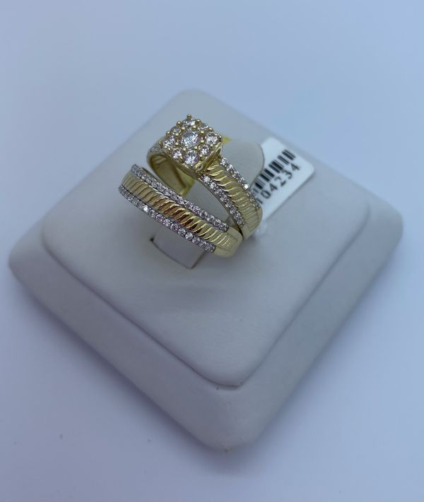 Wedding set ring cz 14k
