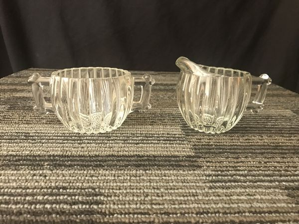 Jeanette Glass Creamer and Sugar Bowl