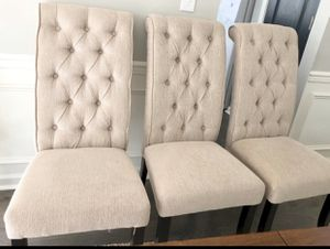 Tufted linen Dining chairs - set of 6 for Sale in New Hill, NC