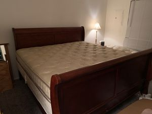 Sleigh bed bed frame, with California king mattress for Sale in University Place, WA