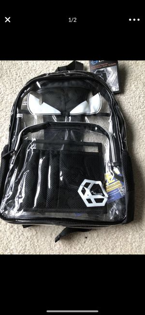 LOKASS Large Clear Backpack Transparent Multi-Pockets Backpacks/Outdoor Backpack Fit 15.6 Inch Laptop Safety Travel Rucksack with Black Trim for Sale in Kansas City, MO